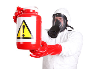 Man in a suit of chemical protection