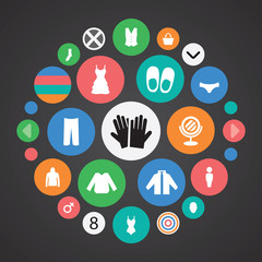 clothes icons universal set