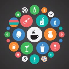 drinks icons universal set