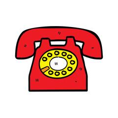 retro telephone in doodle style