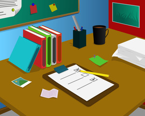 Desk with checklist paper, coffee and stationery