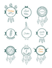 Feathers and dream catcher hand drawn badges and labels. Vector illustration isolated on white. Big set for logo design.
