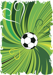 Abstract green football background with hearts.Vertical banner