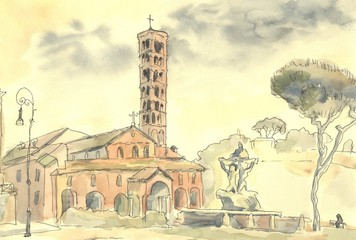 Rome. Italian urban landscape. The Mouth Of Truth. Watercolor painting