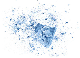 Abstract blue Ice crash explosion parts on white background. Collision, suspension crystal ice cubes damage.