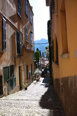 Varenna narrow alleys in the old village on Lake Como in Lombardy, Italy