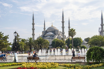The Sultanahmet District and the Blue Mosque in Istanbul, Turkey