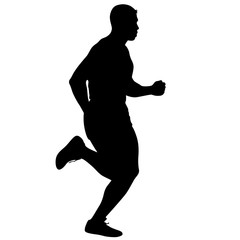 Silhouettes Runners on sprint, men. vector illustration.