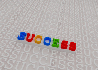 Colorful success 3d text on white stage