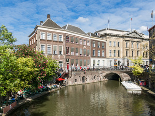 Town Hall Bridge on Oudegracht canal in the city of Utrecht, Netherlands