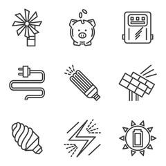 Saving energy simple icons set