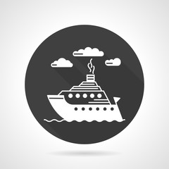 Passenger steamer round vector icon