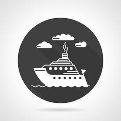 Passenger steamer round vector icon