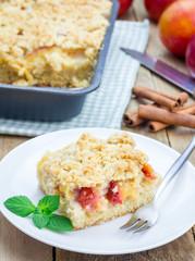 Homemade plum crumble pie