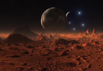 Alien Planet - 3D Rendered Landscape Wall mural
