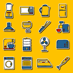 Set of stickers in hand drawn cartoon style on home appliance