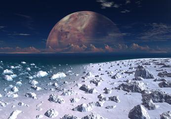 In de dag Aubergine Alien Planet - 3D Rendered Landscape