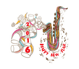 happy new year 2016 musical with Jazz Saxophone doodle art