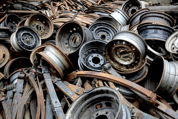 Old spare parts of automobiles