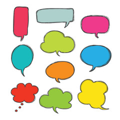 bubble speech hand drawn color icon set vector