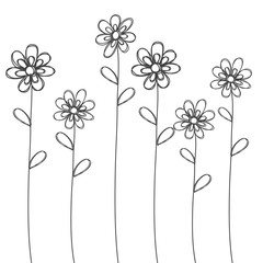 flowers hand drawn black isolated vector for background or card