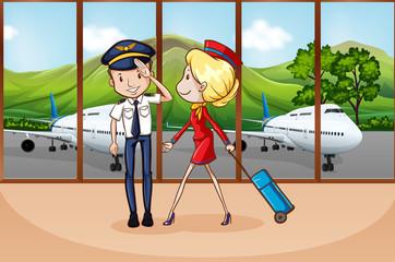 Cabin crew at airport