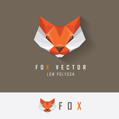 Low polygon style red fox head logo element for business visual identity