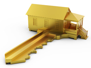 Golden House Key with clipping path
