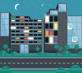 Conceptual vector illustration of employees working overtime. An office building block or business center with light coming out of windows in a night scenery