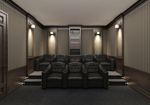 Interior of a home theater