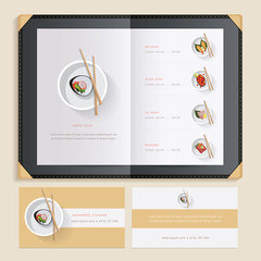 Japanese cuisine sushi recipes menu catalog template with food illustrations and sushi restaurant business card mockups