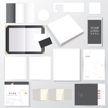 Empty corporate visual identity mockup template set. White paper documents isolated on light background.