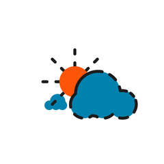 Color line icon for flat design. Clouds and sun
