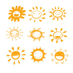 sun smile diversity hand drawn cute set vector for decorated or