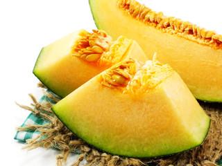 honeydew melon cantaloupe slices close up