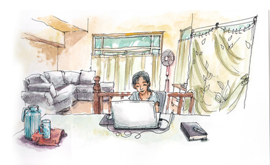 Asian girl working with computer from home hadn painting illustr