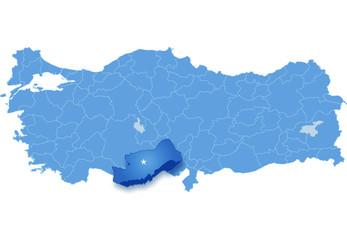 Map of Turkey, Mersin