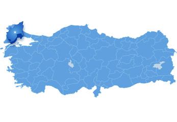 Map of Turkey, Tekirdag