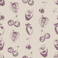 Seamless background made of berries in linear style