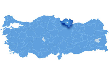 Map of Turkey, Ordu