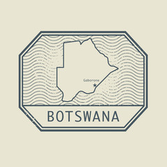 Stamp with the name and map of Botswana