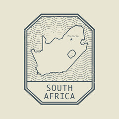 Stamp with the name and map of South Africa