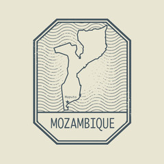 Stamp with the name and map of Mozambique