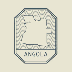 Stamp with the name and map of Angola