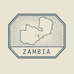 Stamp with the name and map of Zambia