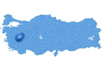 Map of Turkey, Usak