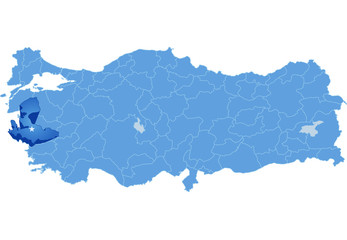 Map of Turkey, Izmir