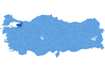 Map of Turkey, Yalova