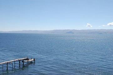 Lone dock on Lake Titicaca