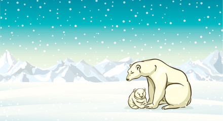 Polar bear with baby and winter landscape.